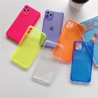 Флуоресцентные чехлы телефона, применимые к iPhone12 / 11PRO / XS четыре угла столовые устойчивости 7/8plus Candy Color TPU мягкая оболочка