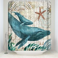 Tema da vida do oceano Curtain Curtain Banheiro Tartaruga de mar Baleia Polvo Padrão Padrão Água Poliéster Frábico Lavável Banho Cortinas com ganchos