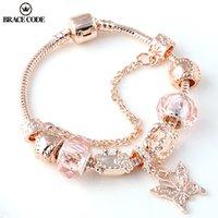 Link de moda Pulsera Código de correos Rose Golden Butterfly con las cuentas de la corona se adapta a las joyas finas de la fiesta de las mujeres