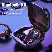 TWSスポーツBluetooth 5.0イヤホンLED電源ディスプレイワイヤレスヘッドフォンマイクタッチコントロールヘッドセットの携帯電話用イヤホン