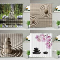 Shower Curtains Zen Stone Buddha Flowers Scenery Creativity Art Bathroom Bath Curtain With Hooks Waterproof Fabric Bathtub Decor