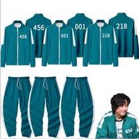 Gym Clothing Squid Game Theme Costume Li Zhengjae Same Jacket 456 218 067 001 Autumn Casual Polyester Stand-up Collar Sweatshirt Suit 2XS-4XL H1011