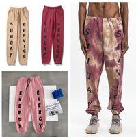 Sunday service designer kanye west long pants Loose print mens trousers oversized large size handsome men wear Reflective Sweatpants Casual letter Streetwear