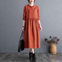 2021 Yaz Elbiseler 2021 NYFS 2021 İlkbahar Sonbahar Vintage Uzun Kollu Kadın Elbise Vestido De Mujer Robe Elbise Pamuk Keten Çiçek Kadınlar Için