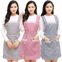 Nail Art Kits 1piece Double-layer Anti-oil Work Apron Kitchen Cooking Cute Female Working Gown Fashion Restaurant Waist Overalls