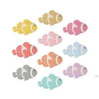 الأسماك عضاضة سيليكون التسنين اللعب للأطفال شكل مضغ الخرز مصاصة قلادة قلادة مهذري التمريض التمريض chewable الملحقات HWF6381