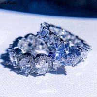 Wedding Rings Fashion Eternity Ring Dazzling Cubic Zircon Luxury 2Pcs Set For Women Engagement Statement Jewelry Size 5-11