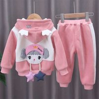 Winter Children Boys Kids Clothes Girl Baby Toddler Girl Children Suits 0-1-4-year-old Girls Two-piece Clothes MickKey Set 211021