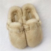 Slippers Style Fur Ladies Winter Warm Shoes Real Mink Household Furry Closed Toe Flat