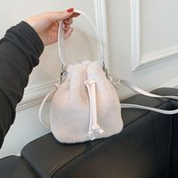 Evening Bags Vintage Women Top-Handle Bag Plush Drawstring Solid Color Shoulder Daily Winter Casual Chain Small Purse