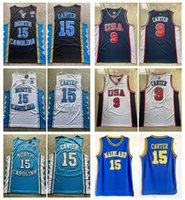 Męskie Vince Carter Jersey # 15 LANTEL High School Koszulki Koszykówka Vintage Północ Carolina Tar Heels Szyte 2000 Olimpiady USA Koszulki S-XXL