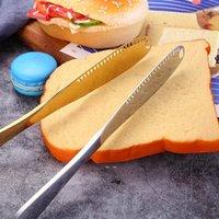Multiuse de esparcidor de mantequilla con cuchillo de mantequilla de acero inoxidable Borde serrado trituración de ranuras fáciles de mantener para sostener el pan de mantequilla JAM GWD11044
