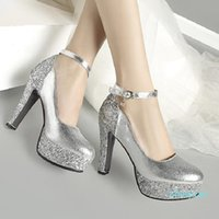 Plus size 34 to 42 43 bridal wedding shoes red sequined ankle strappy round toe platform pumps gold silver Come 8534