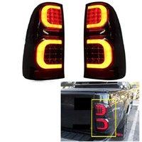 緊急ライトLEDリアライトテールランプフィットフォットHilux Vigo 2005-2014車のブレーキブラック照明入りアクセスオート