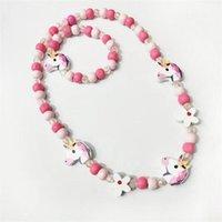 8 стилей дети ожерелье наборы аксессуары красочные бусины лиса кролик unicorn шаржевые бусины ожерелье и браслет девочка день рождения ювелирные изделия gwa5199