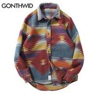 Gonthwid Hip Hop Krawatte Dye Snap Button Langarm Hemden Männer Mode Beiläufige Streetwear Kleid Hemd Mäntel Männliche Hipster Hemden Tops