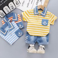Baby Clothing Sets Boys Suits Kids Outfits Summer Cotton Striped Short Sleeve T-shirts Shirts Denim Pants Shorts 2Pcs Casual Toddler Wear 0-3T B5215