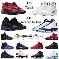 Dark Powder Blue Jumpman 12s 13s Mens Basketball Chaussures Twist 12 Utility Inverser la grippe Rouge Flint 13 Bred Hommes Entraîneurs Sports Sneakers University Gold 40-47 avec boîte