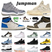 Retro 11 bred travis scott 1 retro 4 jumpman Concord 11s space jam gamma blue Metallic Silver FIBA أحذية كرة السلة للرجال نساء Concord 45 23 Sneakers