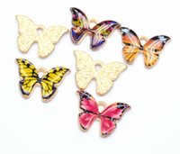 Findings Jewelryfindings & Components Jewelry Colorful Butterfly Pendant 100Pcs  Lot Charms 21*15Mm Enamel Animal Charm Pendants Fit For Nec