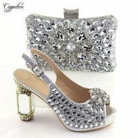 Dress Shoes Amazing Party Set Silver High Heel Evening And Purse Bag Sets With Crystal Stones CR170, Height 11.5cm