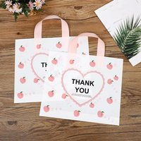 Thank You Bags For Business 50Pack Love Heart Peach Plastic Shopping With Soft Loop Handle Gift Wrap