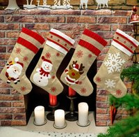 18.8inch Big Christmas Stocking Burlap Canvas Santa Snowman Reindeer Cuff Family Pack Stockings Gift Bags For Xmas Holiday Party Decor SN5557