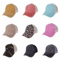 At kuyruğu beyzbol şapkası 30 renkler criss çapraz yıkanmış pamuk kamyoncu kapaklar yaz snapback şapka spor hip hop visor ooa8095