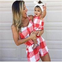 엄마와 나의 옷 여름 드레스 엄마 소녀는 격자 무늬 짧은 소매 가족 봐 어머니 딸 가족 의상 LJ201111