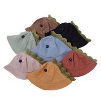 Niños Pescador sombrero Dibujos animados Dinosaurio Ancho Sombreros Sombreros Color Sólido Caps Playa Muchacho y niña Bebé Bebé Protección sol Primavera Primavera Otoño Summa