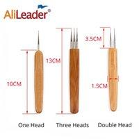 alileader 3pc 머리 뜨개질 바늘을위한 땋은 Dreadlock 도구 뜨개질 뜨개질 후크 대나무 바늘 머리 껍질 머리 도구 세트 DIY