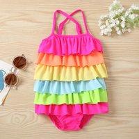 Été enfants bébé filles mode arc-en-ciel couleur maillot de bain élégant robuste empressé de maillot de bain une pièce
