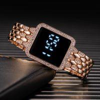 Orologio da polso 2021 Orologi digitali da donna Moda Led Touch Watch Watch Donne Uomo Donne di lusso cristallo rosa oro quadrato quadrante sport orologio da polso Reloj Muje