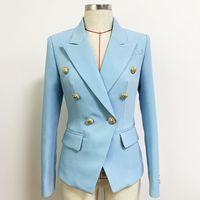 Klassischer Stil Top-Qualität Originaldesign Frauen Zweireiher Blazer Baby Blau Slim Jacke Metall Schnallen Blazer Verbundanzug Stoff Mantel Outwear