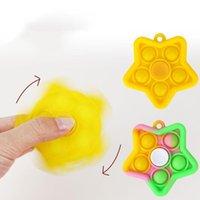 Party Favor Sensory Pop Toys Keychain Fidget Spinner Spin Finger Top Fünfzeige Stern Handheld Stress Reliever Spielzeug Typ Kinder für Geschenk