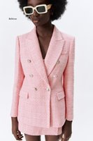 Women's Suits & Blazers Autumn Chic Pink Blazer Office Lady Fashion Plaid Oversized Long Jackets Women Sleeve Double Button Pockets Tops