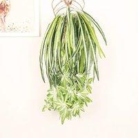 Flores decorativas guirnaldas 65 cm plantas artificiales pared colgando clorofito en maceta verde PVC Falso simulación flor sala de estar decoración