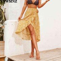 Xnwmnz za za sexy floral alta cintura alta volante falda larga partido boho boho wrap wrap falds