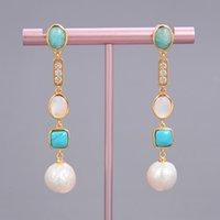Guaiguai Gioielli Bianco Keshi Pearl Shell Blue Turchese Amazonite Goccia Goccia Orecchini fatti a mano per le donne Gemme reali Stone Lady Jewellry