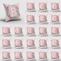 Girls' Pink Pillow Case White Letter In A Wreath Background Pillowcase For Home Decorative Alphabet Cushion Cover T2I52798