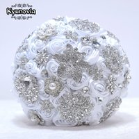 Kyunovia White Brooch Bouquet Rose Gold Jeweled Wedding Bridal Crystal Bling Boquet Luxury Memory bridal bouquet D59
