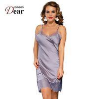 Ventogenear Seta Satin Dress Night Dress Lace NightGown Donne Lenceria Sexy 7XL Plus Size Sleepwear Sleepwear Nuisette Femme RB80772