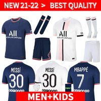 Adulto + kit kit kids sets messi mbappe camisas de futebol hakimi sergio ramos 21 22 Maillots de futebol camisas 2021 2022 Marquinhos Verratti uniformes Enfants Maillot Foot
