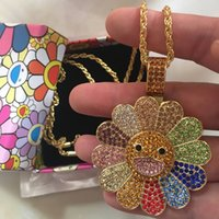 Brands Design Takashi Murakami Sunflower Pendant Necklace Iced Out Rotatable Bearing Spinner Bling Crystal Diamond Decoration 18K Golden Plated Chain Luxury