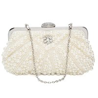 Totes Women Pearl Clutch Bags Evening Bag Purse Handbag For Wedding Chain Dinner Party, White