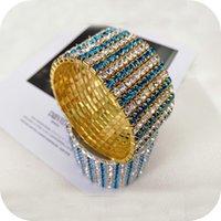 10 fila flash diamante bianco e blu elastico Bracciale da sposa elastico di vari stili