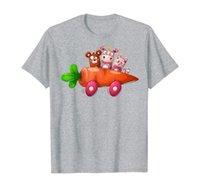 Gullig noshörning, björn och katt resa i morot bil t-shirt