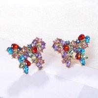 Stud Korean Cute Rhinestone Earrings For Women Trend Luxury Butterfly Shape Pendientes Mujer Holiday Party Designer Jewelry