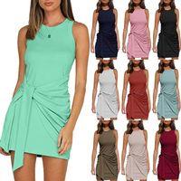 14 Colors Slim One-piece Dress Women Summer Irregular Dresses Sleeveless Round Neck Pleated BOW BELT DRESS Slim Dress S-XXL