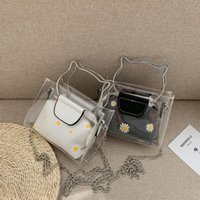 2021 Girls jelly bag ins daisy chain handbag Fashion Woman Floral single shoulder bags transparency bag flower mini purse 2pcs set 1354 B3